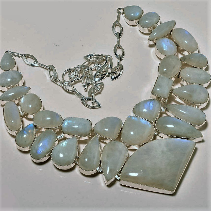 Charming Rainbow Moonstone Silver Necklace