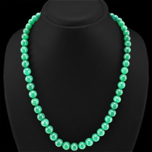 Earth Mined Green Emerald Round Beads Necklace