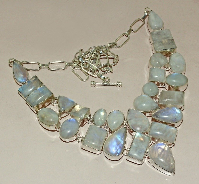 Rainbow Moonstone SIlver Necklace