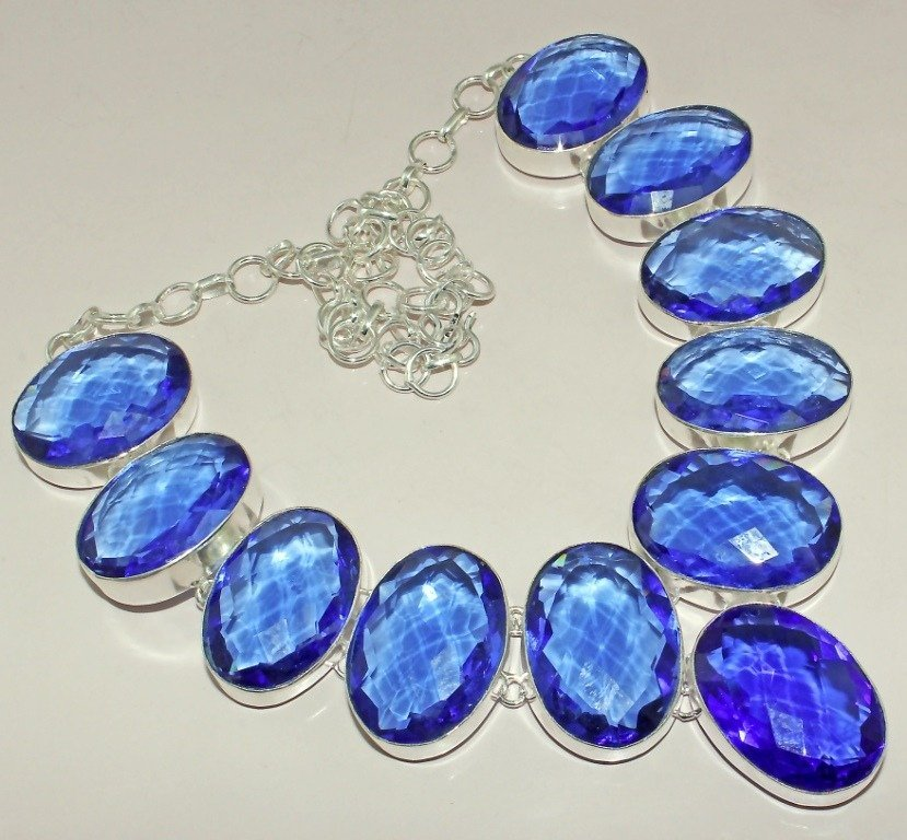Lovely Faceted Iolite Silver Necklace