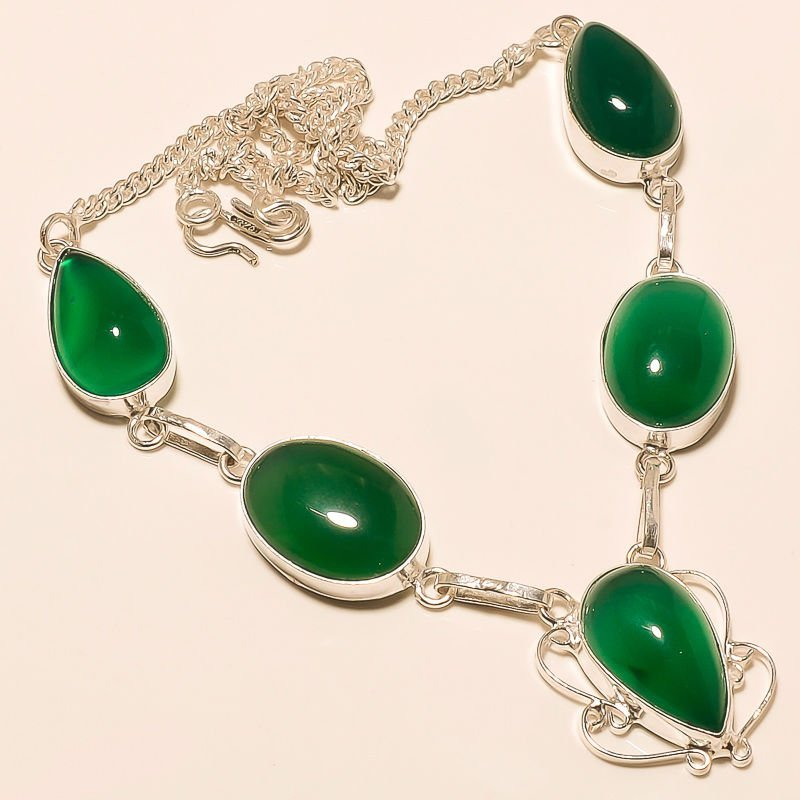 Green Onyx Gemstone Silver Necklace
