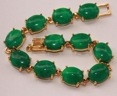 Fashion Natural Womens green jade Mosaic jade bracelet