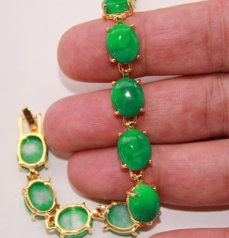 Fashion Natural Womens green jade Mosaic jade bracelet - 2