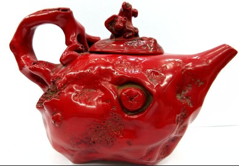 Exquisite Vintage Red Coral Teapot - 2