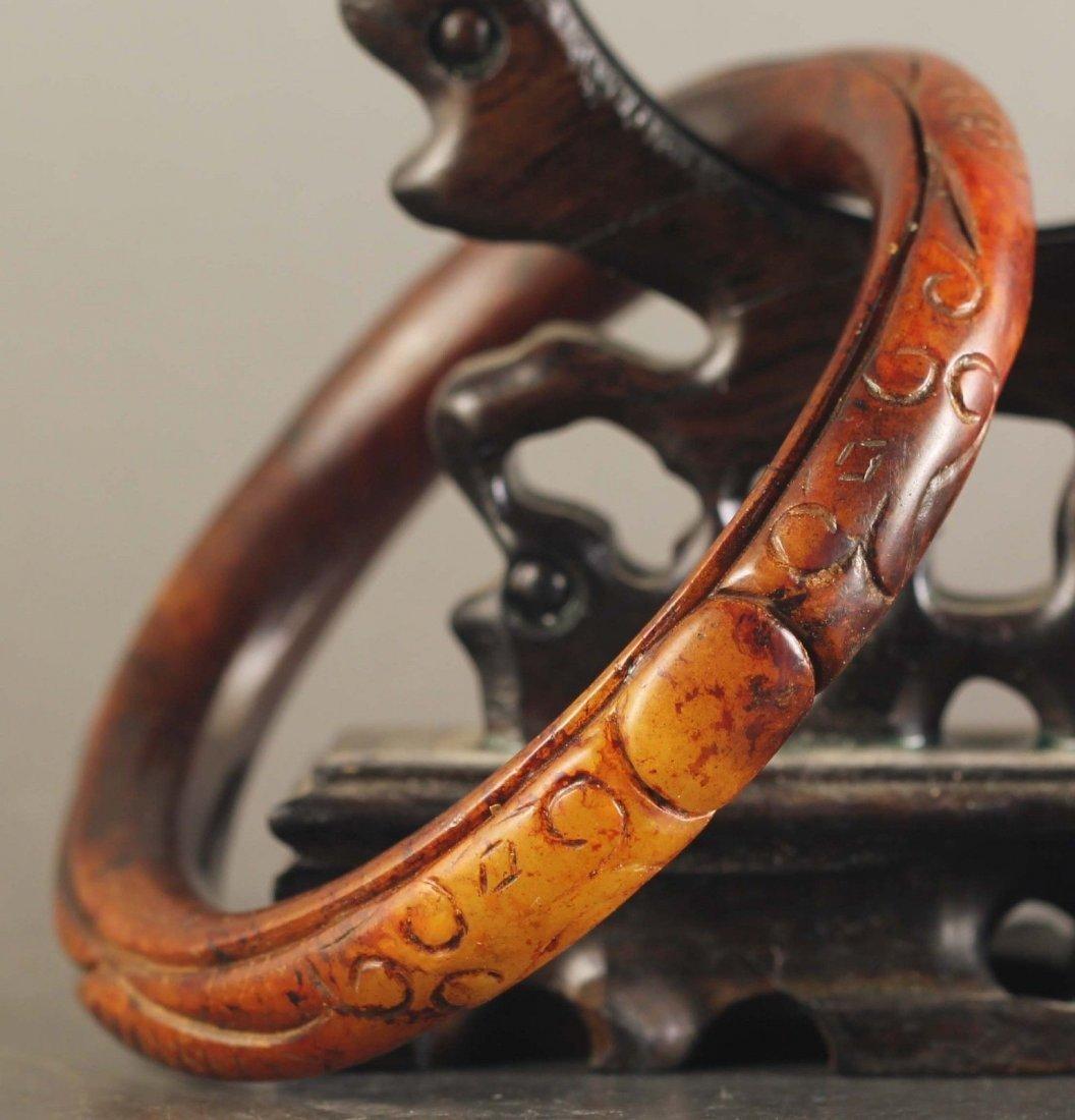 Chinese old natural jade hand-carved Dragon Bangle