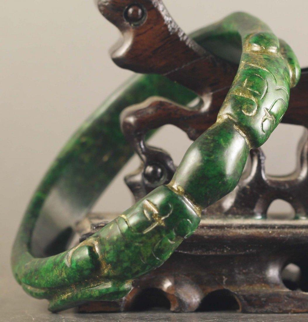 Chinese old natural jade hand-carved Dragons Bangle