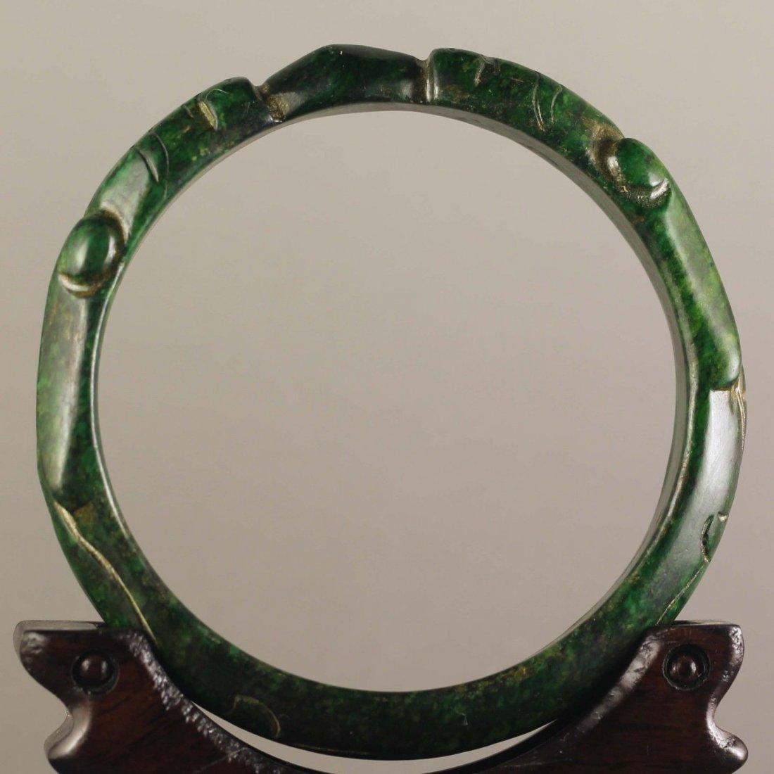 Chinese old natural jade hand-carved Dragons Bangle - 2