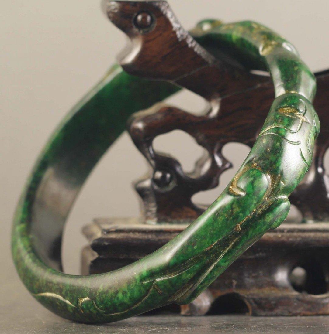 Chinese old natural jade hand-carved Dragons Bangle - 3