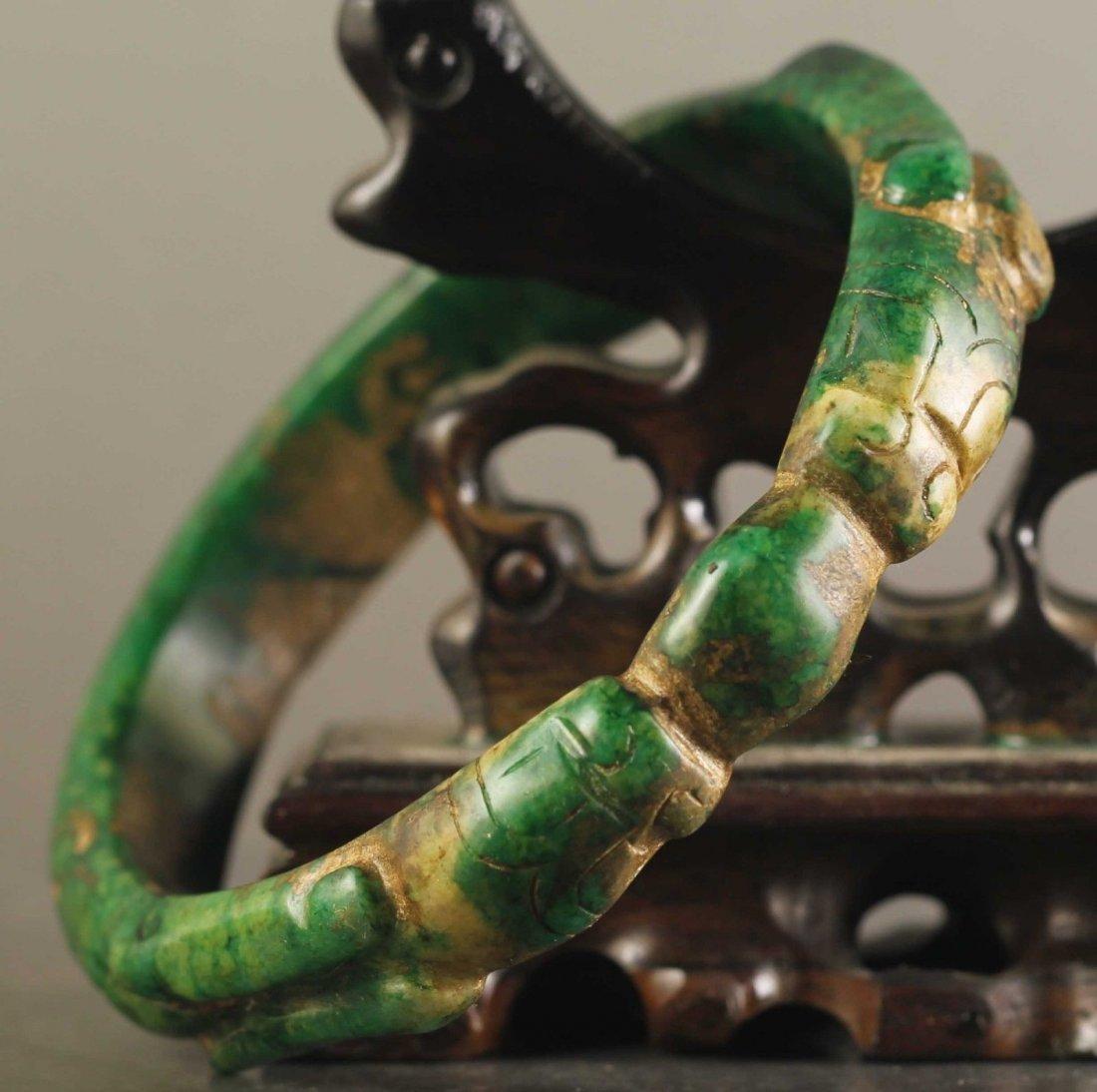 Natural Jade Hand-Carved old Dragon Bangle - 2
