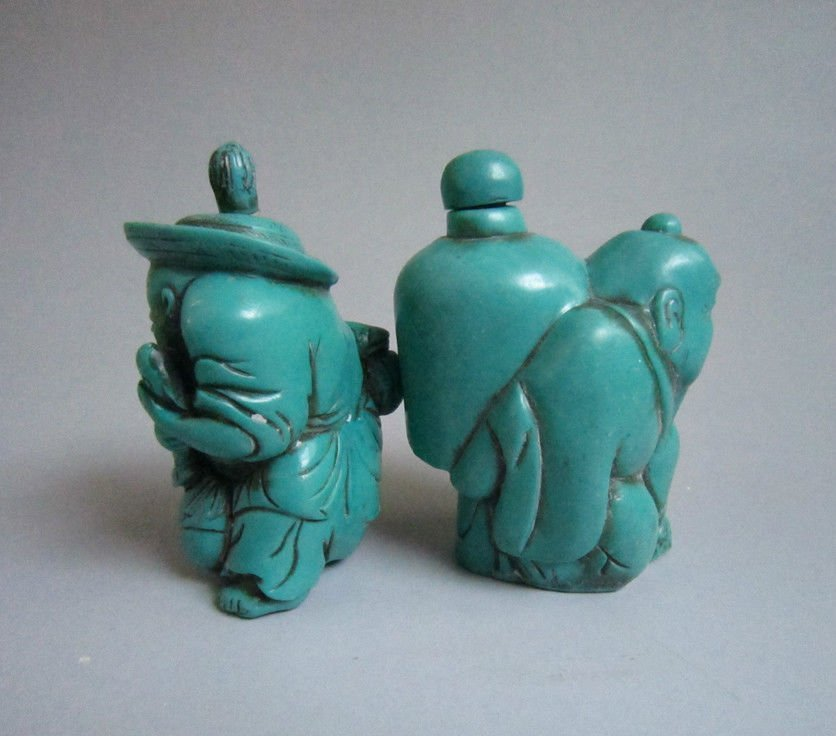 Decorated Turquoise Carved Snuff Bottles - 2
