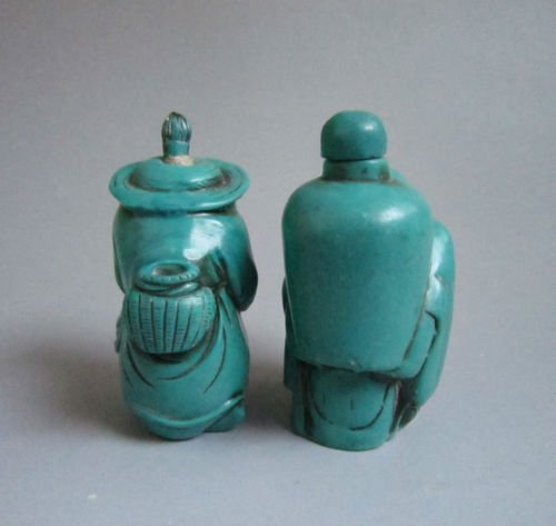 Decorated Turquoise Carved Snuff Bottles - 3