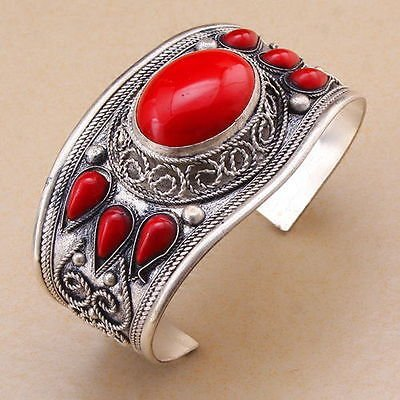 Red Coral Stone Bead Cuff Bracelet Bangle Tibet Silver