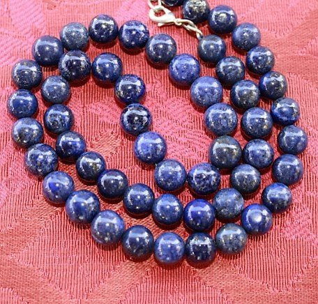 Natural Gold Flakes Blue Lapis Lazuli Beads Necklace - 2
