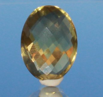 Lemon Citrine Cabochon Checkerboard Cut From Both Sides - 2
