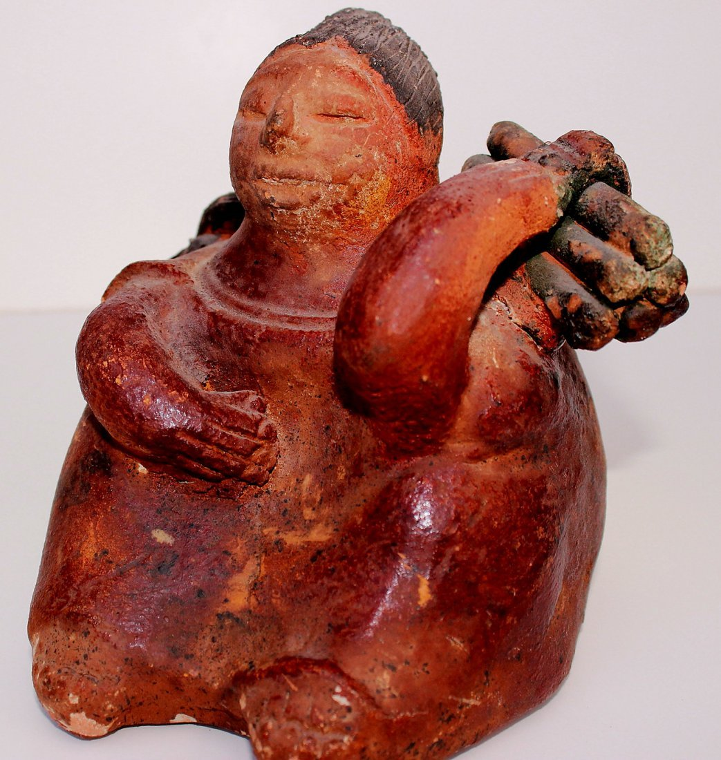 Precolumbian of a Sitting Female Carrying Firewood - 2