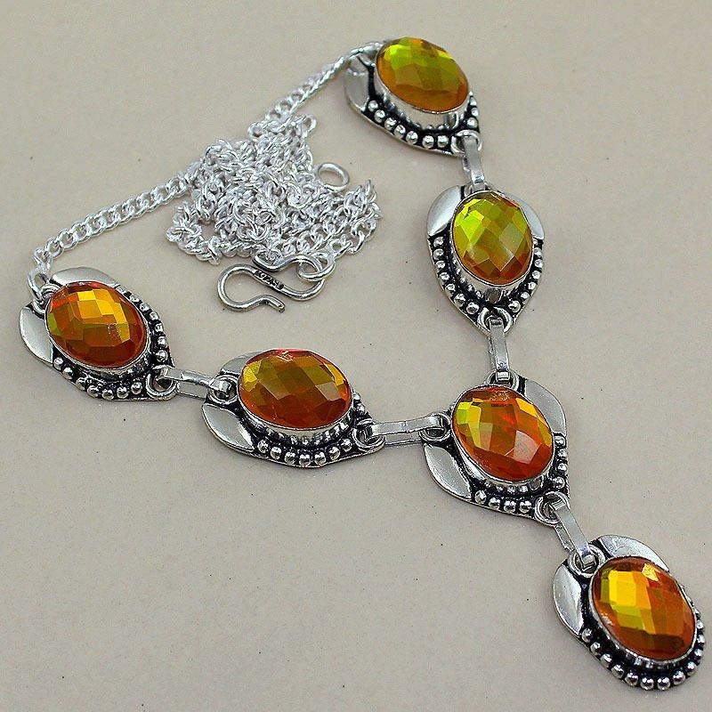 Rainbow Topaz 925 Silver Necklace