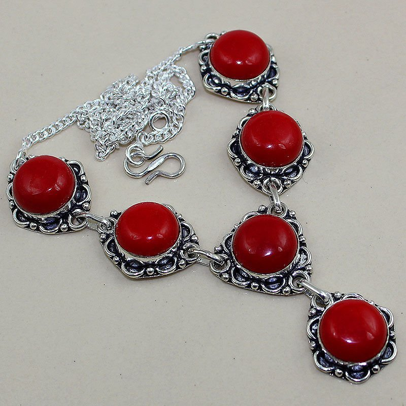 Red Coral 925 Silver Necklace