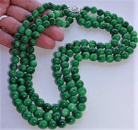 3 Strands Natural 8mm Green Jade Jadeite Round Gemstone