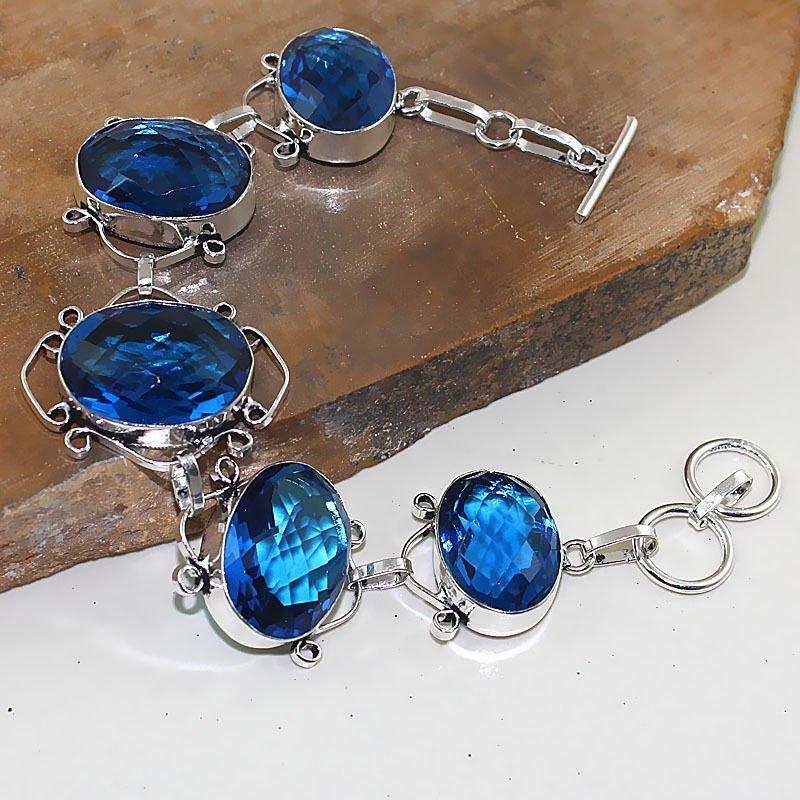 Iolite Silver Bracelet 35 Gms