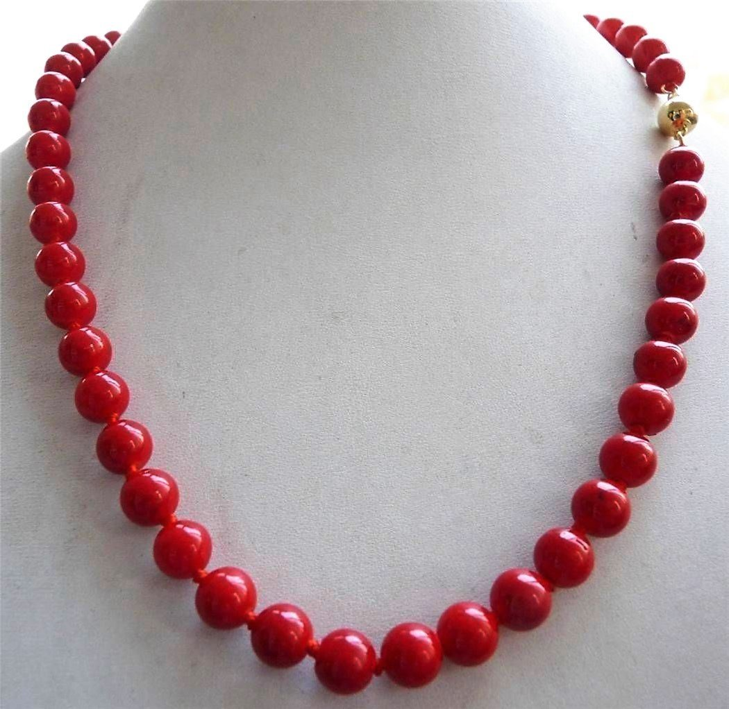 14K Solid Gold Clasp Natural 8MM Red Sea Coral