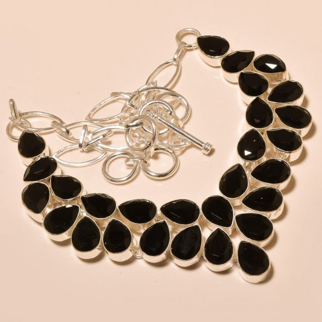 Black Onyx Gemstone Sterling Silver Necklace
