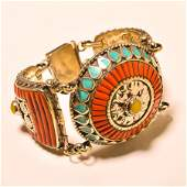TURQUOISE WITH RED & YELLOW CORAL 925 SILVER