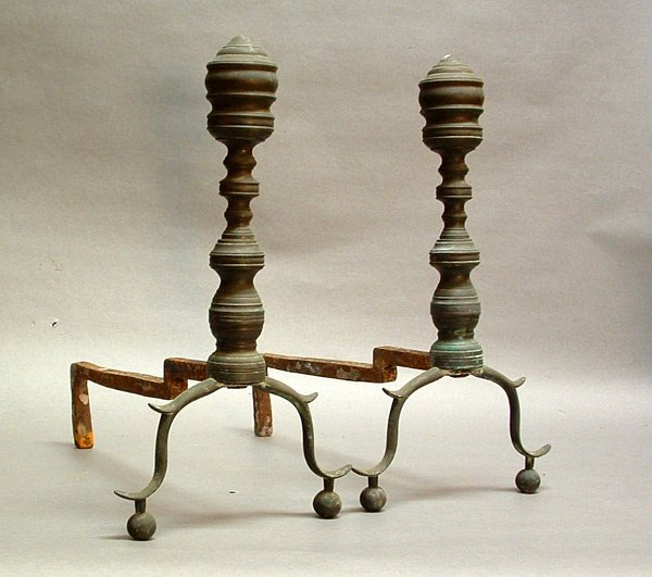 752: Pair of 18th C. Brass Andirons.