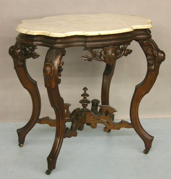 754: 19th C. Walnut Victorian Marble Top Table.