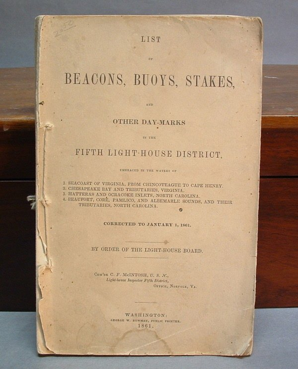 755: 19TH CENTURY NAUTICAL PAMPHLET, List of Bea