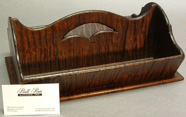 757: Fine Antique Tiger Maple Cutlery Tray