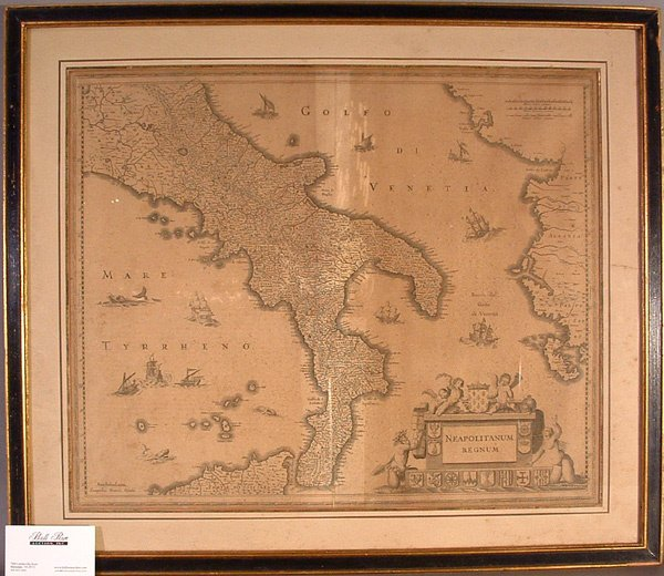 771: Framed 17th C. Map of Italy by Henricus Hondius.