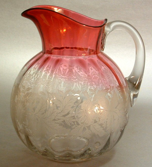 776: 19th C. Etched Rubino Verde Glass Pitcher.