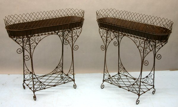 955: Pair Victorian Style Hand Wrought Iron Planters.