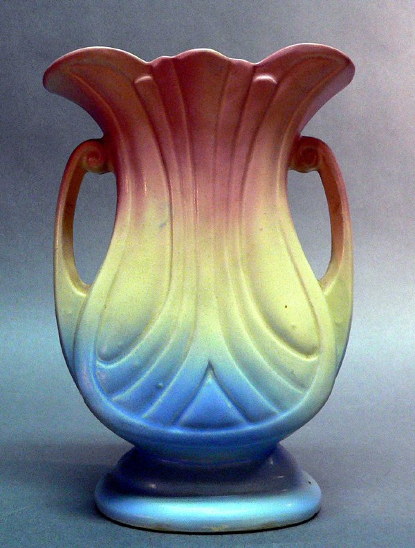 104: ART POTTERY VASE, possibly Hull, pink and b