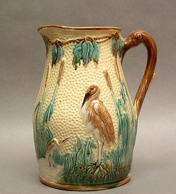 113: LARGE MAJOLICA PITCHER, with stork decorati