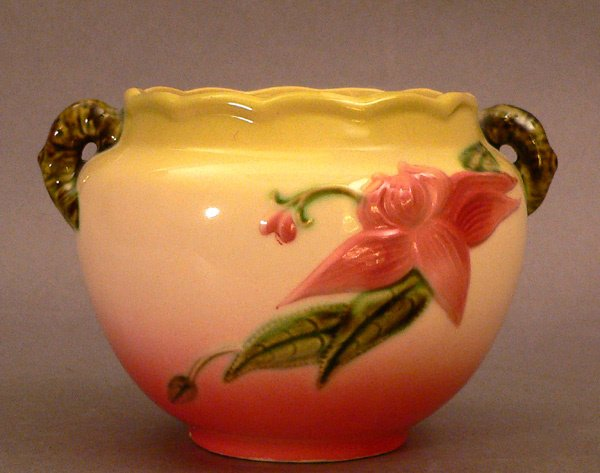 700: FLOWER BOWL BY HULL, with branch-form handl