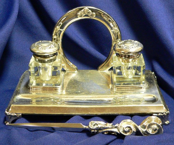 1032: A REED & BARTON INK STAND with letter opene