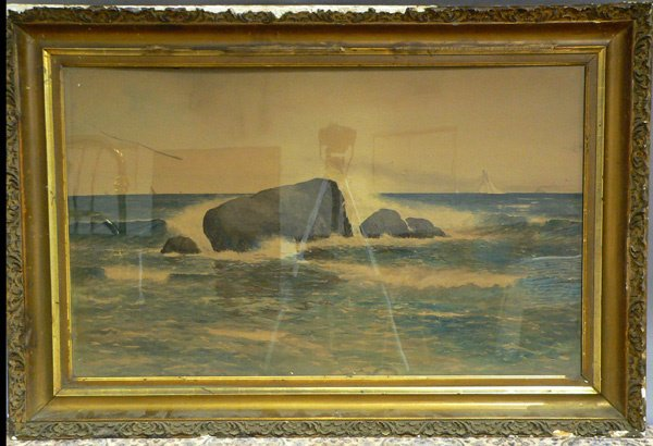 1034: WATERCOLOR ON PAPER, rocky coastline with b
