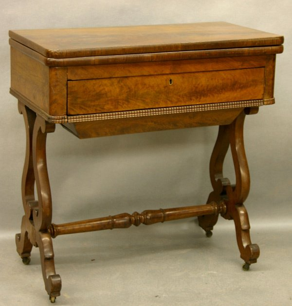 1037: AMERICAN VICTORIAN WALNUT SEWING TABLE. C.