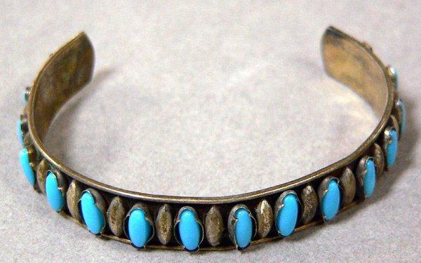 1040: Vintage Silver & Turquoise Childs Bracelet