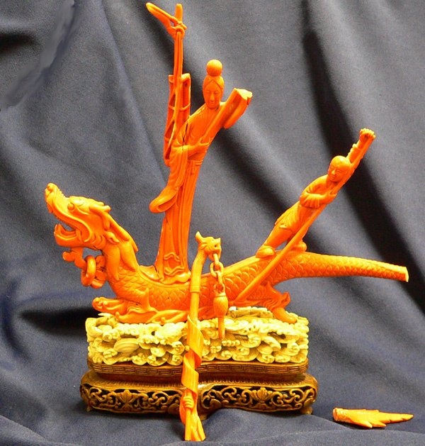 1065: A Carved Coral Figural Group