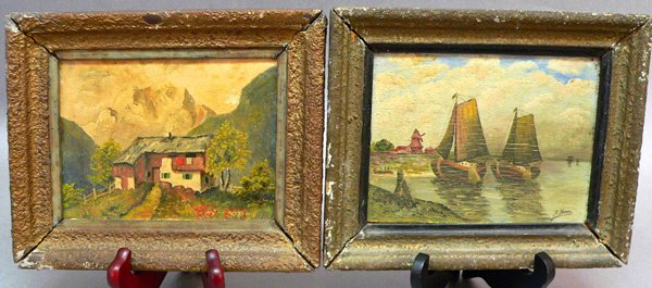 1: Two Paintings on Board, Signed A. Henn