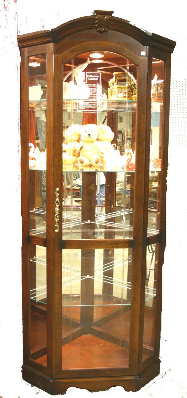 19: Cherry Corner Display Cabinet, Lighted