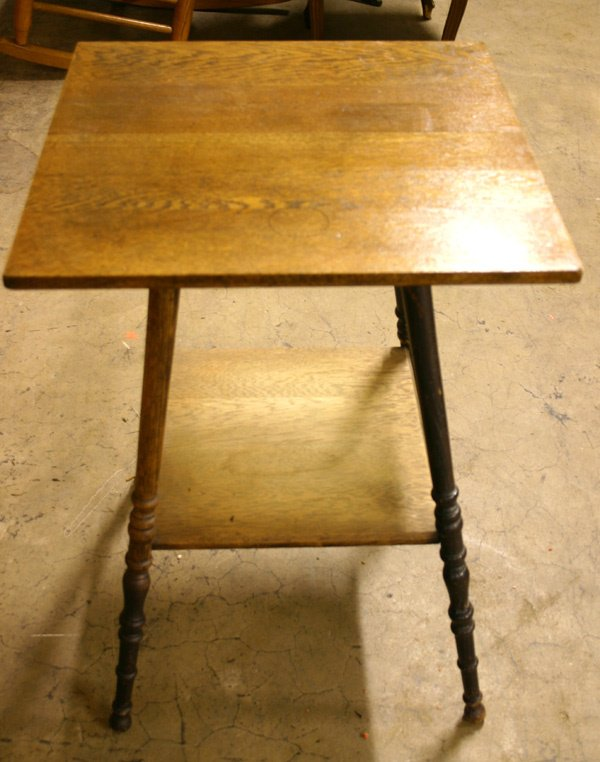 23: Square Oak Lamp Table, circa 1900.