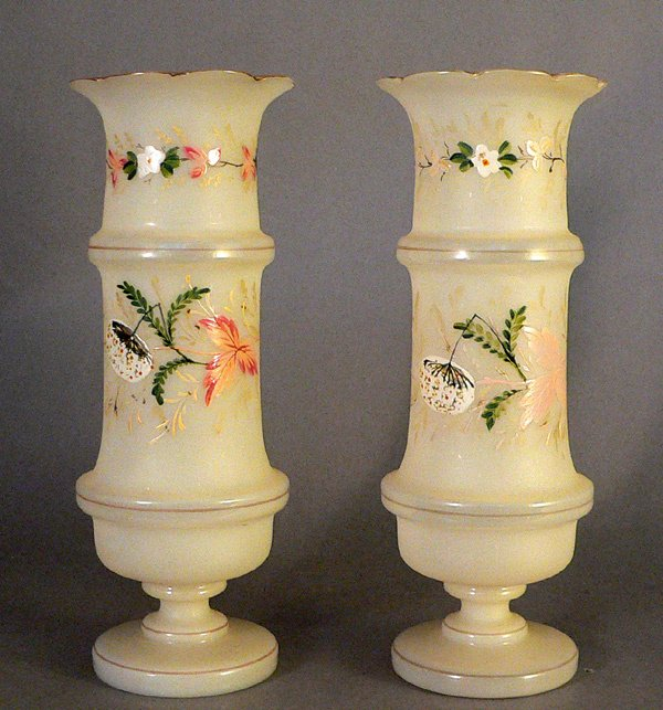 102: Pair of Enameled Bristol Glass Vases