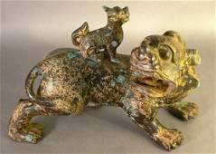 289: 18th C. Bronze Mother and Small Dog.