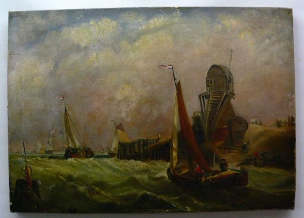 105: Oil On Canvas, 19th Century Harbor Scene.