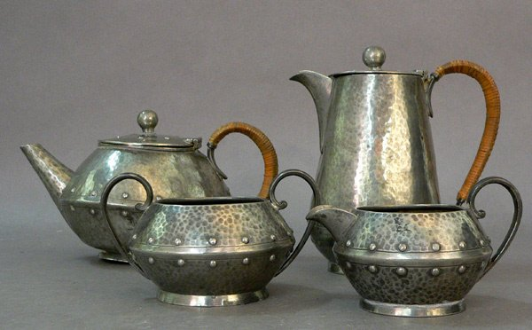 619: Arts and Crafts PewterTea Coffee Set, 1925