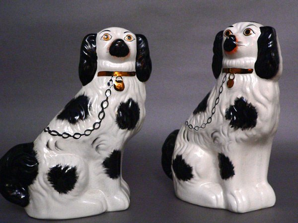 608: PAIR OF STAFFORDSHIRE SPANIELS
