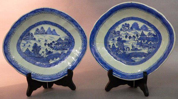 621: Pair Blue Canton Serving Bowls.